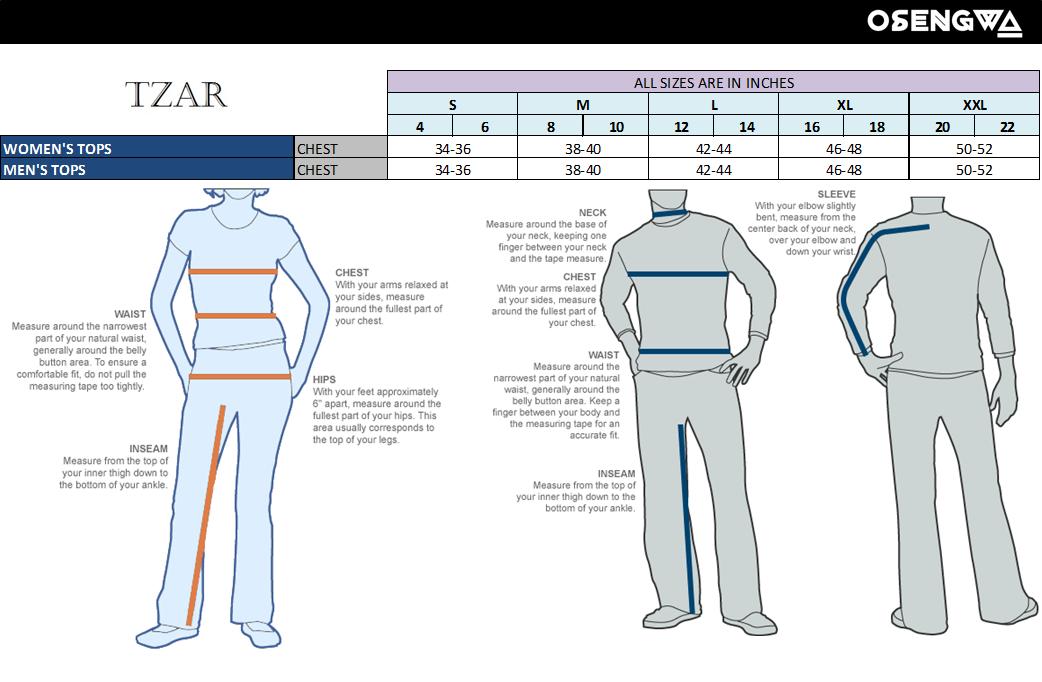 TZAR Size Charts